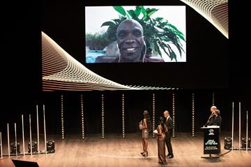 Male Athlete of the Year Eliud Kipchoge talks via video link-up at the World Athletics Awards 2019 (Philippe Fitte)