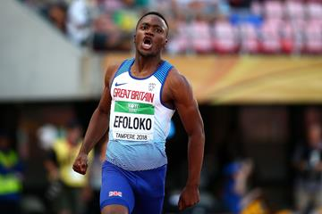 Jona Efoloko wins the 200m at the IAAF World U20 Championships Tampere 2018 (Getty Images)