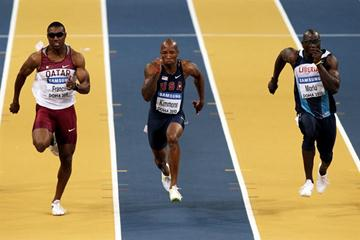 Qatar's Samuel Francis, USA's Trell Kimmons and Liberia's Abraham Morlu in the 60m heats in Doha (Getty Images)