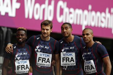 Mickaël-Méba Zeze, Christophe Lemaitre, Jimmy Vicaut and Stuart Dutamby at the IAAF World Championships London 2017 (AFP / Getty Images)