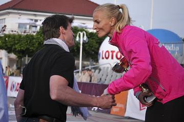 Jean Galfione and Anna Rogowska after the 2013 Tyczka na Molo Pole Vault competition in Sopot (Sopot 2014 LOC)