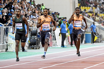 Noah Lyles takes a big win in the 200m at the IAAF Diamond League meeting in Doha (Hasse Sjogren)