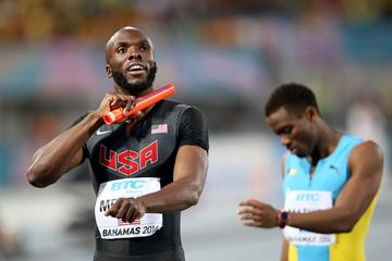 LaShawn Merritt (L) of the United States reacts after winning the Men's 4x400 metres relay final ahead of Michael Mathieu (R) of Bahamas  (Getty Images)