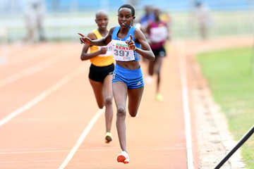 Emmaculate Chepkirui wins the 3000m at the Kenyan World U18 Trials (LOC)