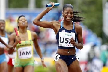 Regina George anchors the USA to gold in the women's 4x400m (Getty Images)