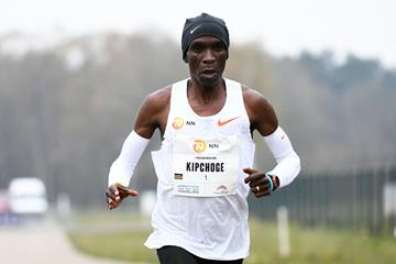 Eliud Kipchoge in action at the NN Mission Marathon in Enschede (AFP / Getty Images)