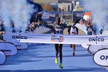 Ben Somikwo winning the Gdynia Half Marathon (Organisers)