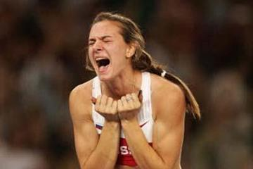 Yelena Isinbayeva celebrates winning Olympic gold (Getty Images)