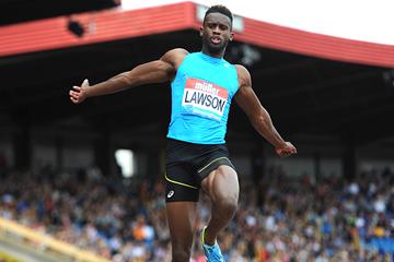 Long jump winner Jarrion Lawson at the IAAF Diamond League meeting in Birmingham (Mark Shearman)