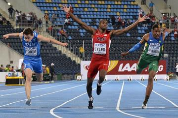 Noah Lyles of the US winning the 100m title at the IAAF World U20 Championships Bydgoszcz 2016 (Getty Images)