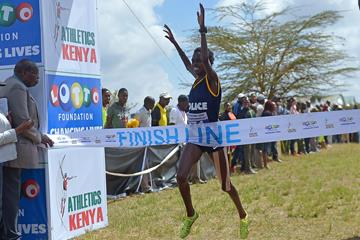 Irene Cheptai wins the senior race at the Kenyan Cross Country Championships in Nairobi (AFP/Getty Images)