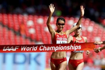 Liu Hong wins the 20km race walk at the IAAF World Championships, Beijing 2015 (Getty Images)