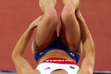 Yelena Isinbayeva celebrates with a back flop (Getty Images)