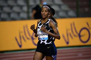 Sifan Hassan in action in the one-hour race at the Diamond League meeting in Brussels (AFP / Getty Images)