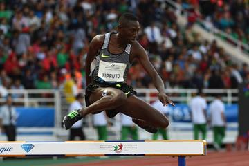 Conseslus Kipruto in the 3000m steeplechase at the IAAF Diamond League meeting in Rabat (Kirby Lee)