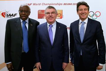 IAAF President Lamine Diack, IOC President Thomas Bach, IAAF President elect Sebastian Coe (Getty Images)