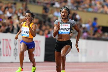 Eliane Thompson winning the 100m at the 2016 IAAF Diamond League meeting in Lausanne (Gladys von der Laage)