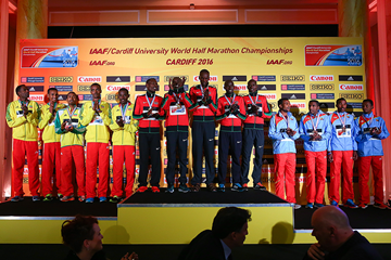 The men's team podium at the IAAF/Cardiff University World Half Marathon Championships Cardiff 2016 (Getty Images)
