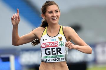 Germany's Gesa-Felicitas Krause after her 3000m steeplechase victory at the European Team Championships in Lille  (Getty/AFP)