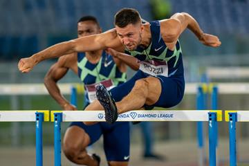 Andrew Pozzi on his way to winning the 110m hurdles at the Wanda Diamond League meeting in Rome (Chris Cooper)