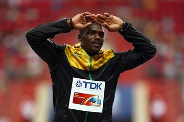 Nesta Carter on the 100m medal podium at the 2013 IAAF World Championships (Getty Images)