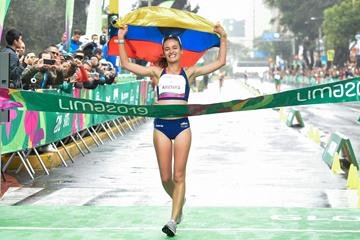 Colombian race walker Sandra Arenas winning the 2019 Pan-American Games title (AFP/Getty Images)