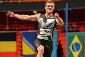 Long jump winner Andreas Otterling at the Globen Galan in Stockholm (Hasse Sjogren)