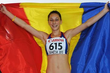 Florentina Marincu celebrates after winning the triple jump at the 2013 World Youth Championships (Getty Images)