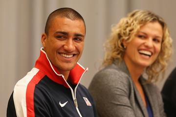 World record-holders Ashton Eaton and Natallia Dobrynska at the press conference in Sopot (Getty Images)