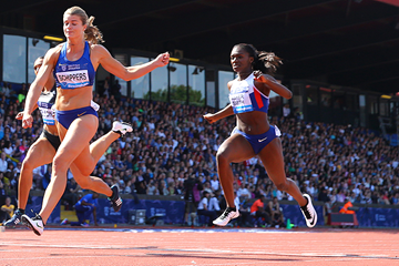Dafne Schippers and Dina Asher-Smith in action at the IAAF Diamond League meeting in Birmingham (Getty Images)