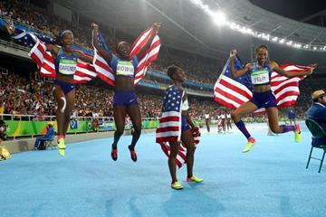 USA after winning the 4x100m at the Rio 2016 Olympic Games (Getty Images)
