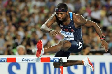 Bershawn Jackson in the 400m hurdles at the IAAF World Championships (Getty Images)