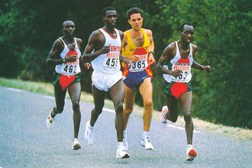 The lead pack in the men's race at the 1995 World Half Marathon Championships (RFEA)