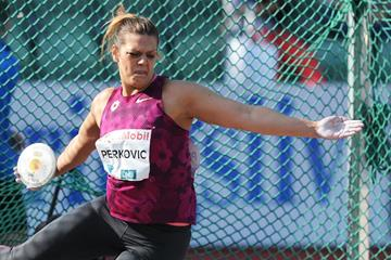 Sandra Perkovic at the 2014 IAAF Diamond League meeting in Oslo (Mark Shearman)