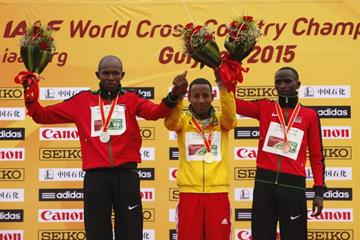 The junior men's medallists at the IAAF World Cross Country Championships, Guiyang 2015 (Getty Images)