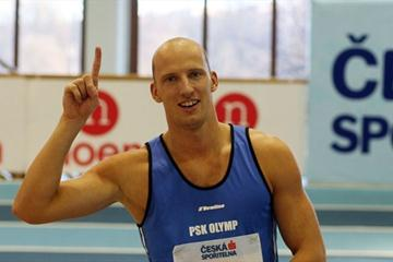Petr Svoboda after his 7.44 national record in Prague (Jan Kucharčík for Czech Athletic Federation)