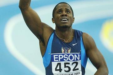 Dwight Phillips after winning the long jump at the IAAF World Indoor Championships in Birmingham (Getty Images)