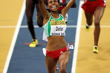 Meseret Defar of Ethiopia celebrates winning the gold medal in the 3000m (Getty Images)