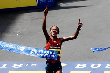 Rita Jeptoo successfully defends her Boston Marathon title (Getty Images)