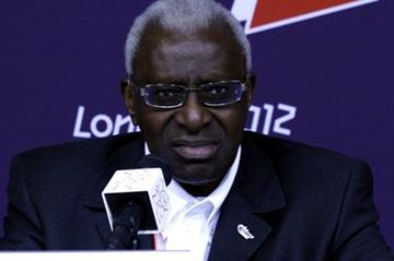 IAAF President Lamine Diack at the IAAF Press conference in London (Bob Ramsak)