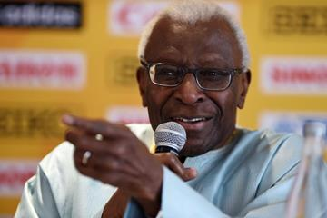 .IAAF President Lamine Diack at the pre-event press conference for the IAAF World Youth Championships, Cali 2015 (Getty Images)