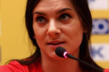 Pole Vault world record holder Yelena Isinbayeva at the World Indoor Championships' press conference (Getty Images)