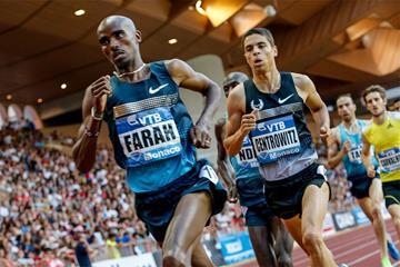 Mo Farah on his way to a European 1500m record at the 2013 Monaco Diamond League (Philippe Fitte)