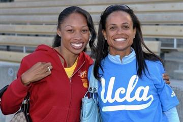 Allyson Felix and Joanna Hayes at the USC-UCLA dual meet (Kirby Lee)