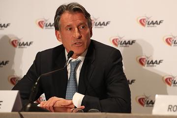 IAAF President Sebastian Coe at the press conference following the 207th IAAF Council Meeting in Monaco (Giancarlo Colombo / IAAF)