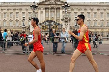 Wang Zhen and Li Jianbo of China testing the London Olympic Race Walk course  (Getty Images)