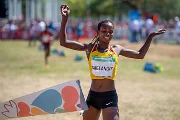 Sarah Chelangat wins the cross-country race at the Buenos Aires 2018 Youth Olympic Games (OIS/IOC)