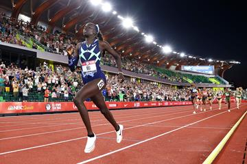 Athing Mu on her way to winning the 800m at the US Trials (Getty Images)