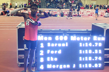 Michael Saruni after clocking 1:14.79 for 600m ()