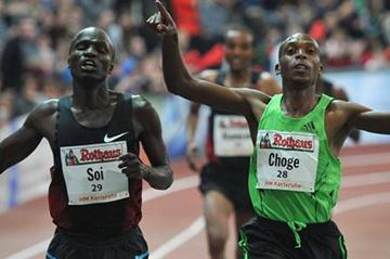 Close! Edwin Soi and Augustine Choge clock 7:29.94 in Karlsruhe. Choge was given the win. (Bongarts/Getty Images)